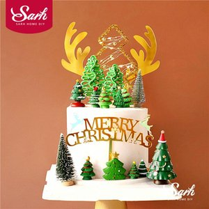 Gold Antlers Merry Christmas Red Hat Trees Cake Topper for Baby Shower Birthday Party Decoration Baking Supplies Kid Love Gifts