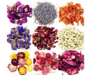 Natürliche Getrocknete Blumen Getrocknete Blumen-Kit, Kerze machen, Seifenherstellung, AAA Food-Grade-Rosa Rose, Lilie, Lavendel, Roseleaf, Jasmin-Blume 9 Taschen