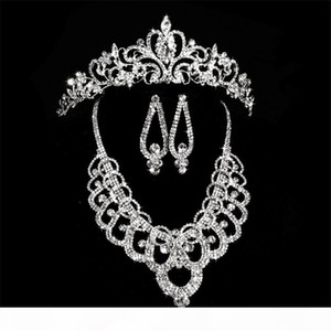 Bridal Diamond Crowns Accessories Tiaras Hair Necklace Earrings Accessories Wedding Jewelry Sets Cheap Price Fashion Style Bride