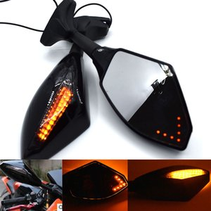 Universal Motorcycle Rear View Mirrors w  LED Turn Signal Light for Honda CBR600 F1 F2 F3 F4 F4i CBR600RR 1987-2010