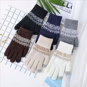 IHGGJ Jacquard Сенсорный экран вязаные плюшевые утолщения осенью и зимой теплые жаккардовые перчатки и перчатки перчатки