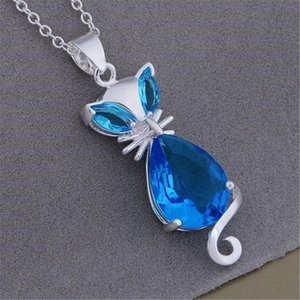 Factory Direct Selling Silver Color Charms Necklace For Women Lady Jewelry Fashion Aesthetic Blue Crystal Zircon Necklace H bbytzv