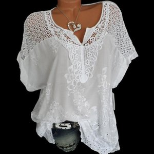 2020 Summer Short Sleeve Womens Blouses And Tops Loose White Lace Patchwork Shirt Plus Size 4xl 5xl Women Tops Casual Clothes