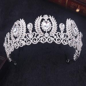 2017 New Handmade Luxury White K Rhinestone Bridal Tiara Fashion Crystal Diadem for Women Wedding Dress Hair accessories