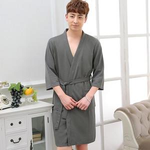 Hot Selling Men Summer Suck Water Waffle Bathrobe Male Plus Size Kimono Bath Robe Sexy Robes Mens Dressing Gown Bathrobes 201125