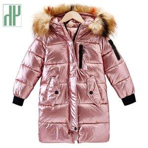 -30 градусов российских детей детей зимняя куртка длинный мягкий фрагмент девушка пальто дети парки теплое с мехом утолщение с капюшоном вниз пальто LJ201017