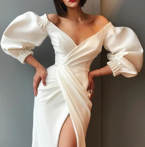 Europe and the United States 2020 autumn new sexy V-neck puff sleeve long sleeve split party evening dress women