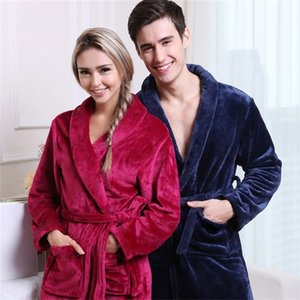 On Sale Men Women Luxury Winter Bathrobe Mens Warm Silk Flannel Long Kimono Bath Robe Male Bathrobes Lovers Night Dressing Gown Y200429