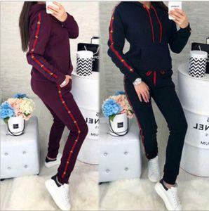 Frauen 2pcs Designer Anzüge Kleidung Mode Marke Letter Print Frauen Trainingsanzüge mit Kapuze langärmelige Hosen-Sport-Sets
