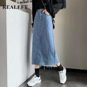REALEFT 2021 New Vintage Women's Long Denim Wrap Skirts Tassel High Waist Fashionable Jeans A-Line Skirts Female Spring Summer