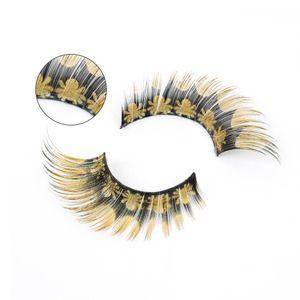 1 пара Золотой паук Печать Ложные напыщенные Красочные партии Поддельные хвост Ресницы ручной глаз ресницами Инструменты удлинения