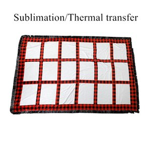 Cheapest! Sublimation panels blanket Red Plaid Sublimation Blankets 20 panels Rug Thermal Transfer Blankets Free Shipping A02