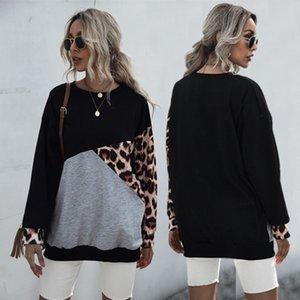 Frauen Hoodies Sweatshirt Drucken O Ansatz Maxi-Pullover Langarm-beiläufige lose Pullover Leopard-Druck-Tops