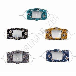 Masques transparents visibles lecture labiale Masques visage Deaf Mute visage Masque motif d'impression Mode d'extérieur Masques de protection coton OWB2210