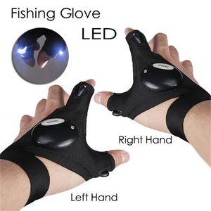 LED Outdoor Flashlight Fishing Gloves Half-finger Gloves with Light Lighting Night Fishing Wild Camping Left Right Hand