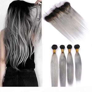 """Extensions de cheveux humains péruviens gris argenté avec frontal # 1b gris ombre tisse droites cheveux humains 4bunles avec dentelle frontale 13x4 """""""