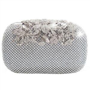 Evening Bags New Unique Clasp Silver Diamante Crystal Diamond Evening bag Clutch Purse Party Bridal Prom