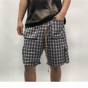 20ss Summer USA Newyork Rhude PAJAMA SHIRT Short Pants Checks Drawstring Shorts Women Men High Street Middle Pants Jogging Shorts