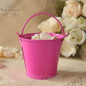 60pcs Hot Pink Mini Tin Pails Wedding Favors Mini Bucket Succulent Plant Tin Bucket Sweet Package Baby Shower Birthday Party Decors Supplies