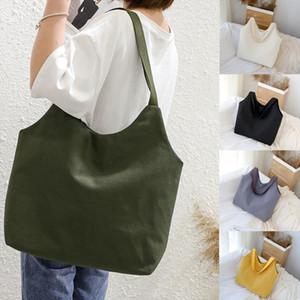Ladies Handbags Cloth Canvas Tote Bag Solid Shopping Travel Women Eco Reusable Big Shoulder Bags Shopper Bolso Mujer Sac