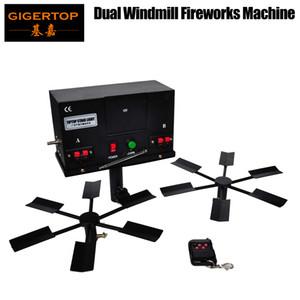 Gigertop TP-T100 Doppelflügel-Brunnen Feuerwerk Zündung-System No.5 Batteriestromversorgung Drehen Feuermaschine Doppelflügel