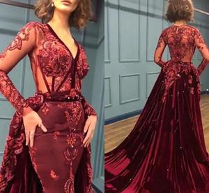 2021 Designer Burgundy Prom Dresses V Neck Illusion Bodice Overskirt Velvet Evening Party Gowns Long Sleeves Sequins Formal Wear AL7379