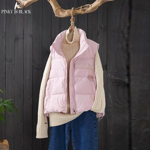 Pinkyisblack otoño invierno chaleco mujer algodón nuevo moda corta invierno chaleco de invierno collar hembra casual colete feminino 210204