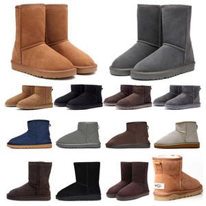 2020 mujeres botas para la nieve clásica bota del tobillo arco corto de la piel de la castaña de invierno negro de color rosa púrpura gris botines chica tamaño 36-41 de la moda al aire libre
