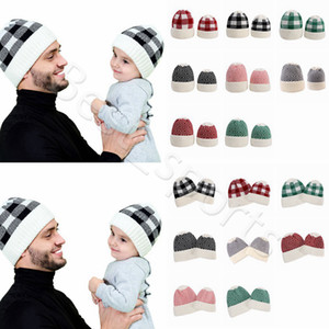 Parent-child Beanie 8 Colors Winter Warm Adult Kids Knitted Caps Outdoor Sports Beanies Plaid Wool Hats CYZ2860
