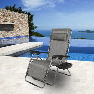 Chaise longue en plein air pliante zéro chaise de gravité inclinable surdimensionnée Follable ajustable avec support de téléphone portable pour la plage de yard