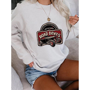 long sleeve sweater round neck casual vintage car print mass women various shapes comfortable material soft moderate thickness bestseller