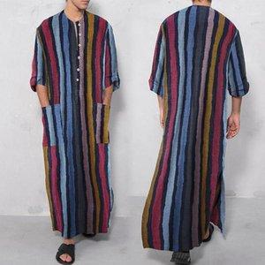 Этнические Одежда Мужские Платье Рубашки Настоящие льняные хлопковые ночные рубашки Большой халат Короткие рукавенные халаты Кафтан Праздничный пляж Мусульмане KAFTA