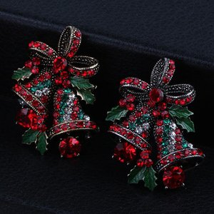 2020 cute Two Bow Bells Brooches For Women Christmas Suit Pins Vintage Creative Gift Jewelry Coat Dress Accessories