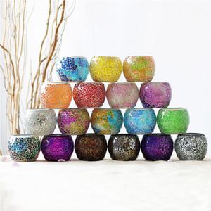Titular de vela de vidro de mosaico Creative Color Candle Cup Home Dining Mesa Dia dos Namorados Decoração Decoração Vela Suporte Presente GWB4047