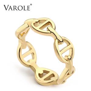 Anel VAROLE coreano oco cobre cor do ouro casamento para as mulheres Moda anéis de noivado Jóias anillos mujer anel
