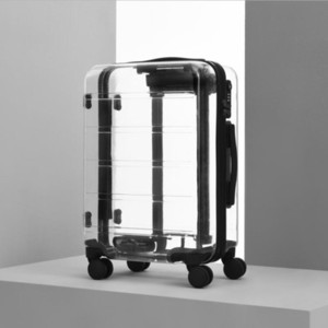 "TRAVEL TALE 20"" 22"" 24"" 26"" inch new brand transparent suitcase spinner cabin luggage trolley bag on wheels LJ200928"