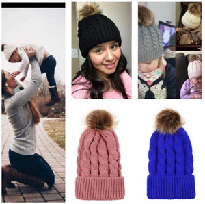 Beanie Autumn Winter Warm Parent-child Crochet Hats Children Adults Knitted Caps Outdoor Casual Sport Skull Cap with big Pom Pom hat E101905