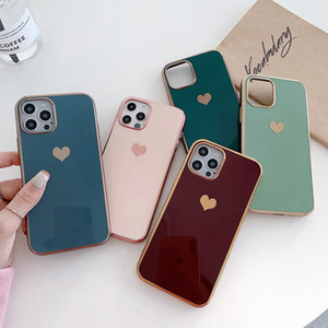 heart-shaped 6D electroplating phone case for iphone12 iphone 12 mini pro max iphone 11 pro xr xs max 7 8 plus back protecitve phone case