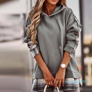 Hoodie 2021 Plaid Print Sweatshirt Women Cotton Korean Style Women Hoodies Autumn Long Sleeve Loose Hooded Pullover Tops