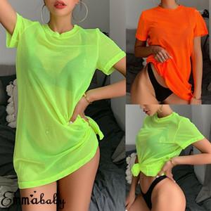 Cor Sólida Casual Loose Tees Mulheres Néon Verde O Pescoço Malha Vintage Manga Curta Tshirt Top Verão Top Long Tshirts Beachwear1