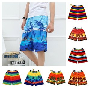Fashion Men Beach Shorts Coconut Palm Print Summer Casual Loose Short Pants Drawstring Thicken Men Shorts for Holiday Swimwear Plus Size