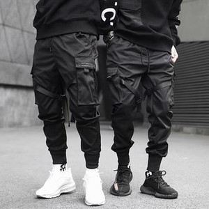 2021 Hip Hop Boy Multi-Pocket Elastic Taille Design Harem Hose Männer Streetwear Punk Casual Hose Jogger Männlichen Tanzen Schwarze Hose