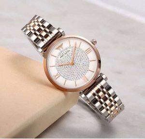 Часы Tiktok, Diamond Drill, нержавеющие стальные часы AMST, джиттер, водонепроницаемые кварцевые часы, дамы.