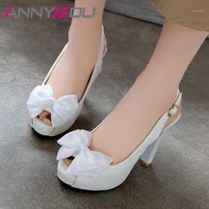Annymoli Femme Slingbacks Pompes Boucle Bracelet Extreme High High Heels Peep Toe Bloc Chaussures Chaussures Bow dames Fête Chaussures Cosplay 431
