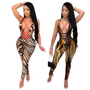 Women Sexy Leopard Print Slim Jumpsuit Sexy Deep V Neck Sleeveless Lace Up Fashion Romper Night Club Overalls