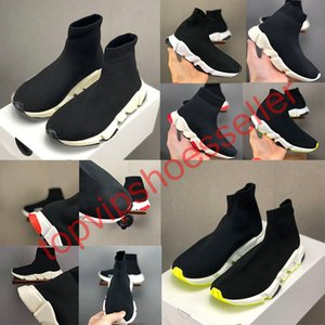 2020 Balenciaga Kids Sock shoes Luxury Brand Sock children shoes Casual Flats Speed ​​Trainer Sneaker Boy Girl alta-Top Running Shoes Black White 24-35