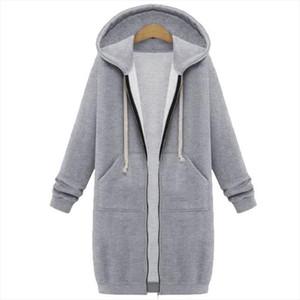 Oversized 2020 Autumn Women Casual Long Hoodies Sweatshirt Coat Pockets Zip Up Outerwear Hooded Jacket Plus Size Tops