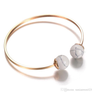 2017 Hot Fashion Women ball marble Bracelets Gold Plated Zirconia Office Lady Vacation wedding Jewelry can adjust