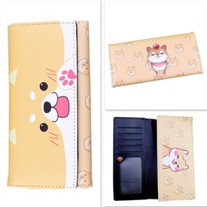 Neko Atsume Cat Backyard Shiba Inu Cute Cartoon Animal Cats Dogs Anime Students Men Women Long Wallet Card Holder Purse Package