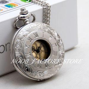 Neue Quarz Große weiße Stahlgoldgesicht Römische Ziffer Taschenuhr Halskette Retro Pullover Kette Mode Watch Student Pocket Watch